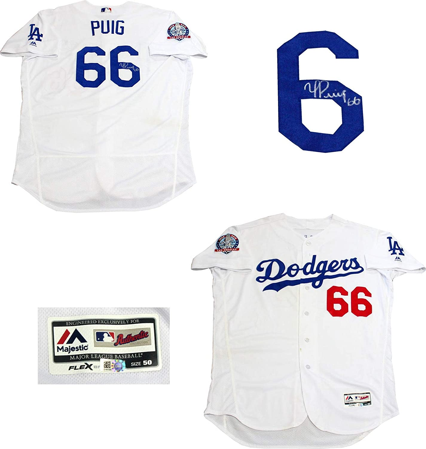 Yasiel Puig Autographed Game Used Los Angeles Dodgers Jersey (MLB) at  Amazon s Sports Collectibles Store a54fec7cd4c