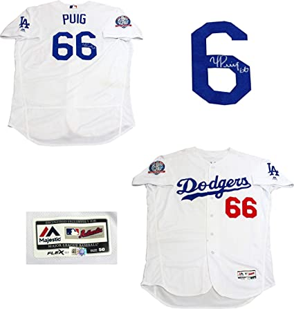 Yasiel Puig Autographed Game Used Los Angeles Dodgers Jersey (MLB ... 4a11c089bc7