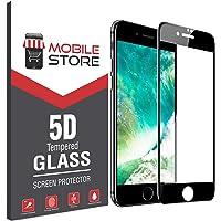 mobile store 5D Glass iPhone SE Ekran Koruyucu Tam Kaplayan Cam Siyah, Apple iPhone SE 2020 ile Uyumlu