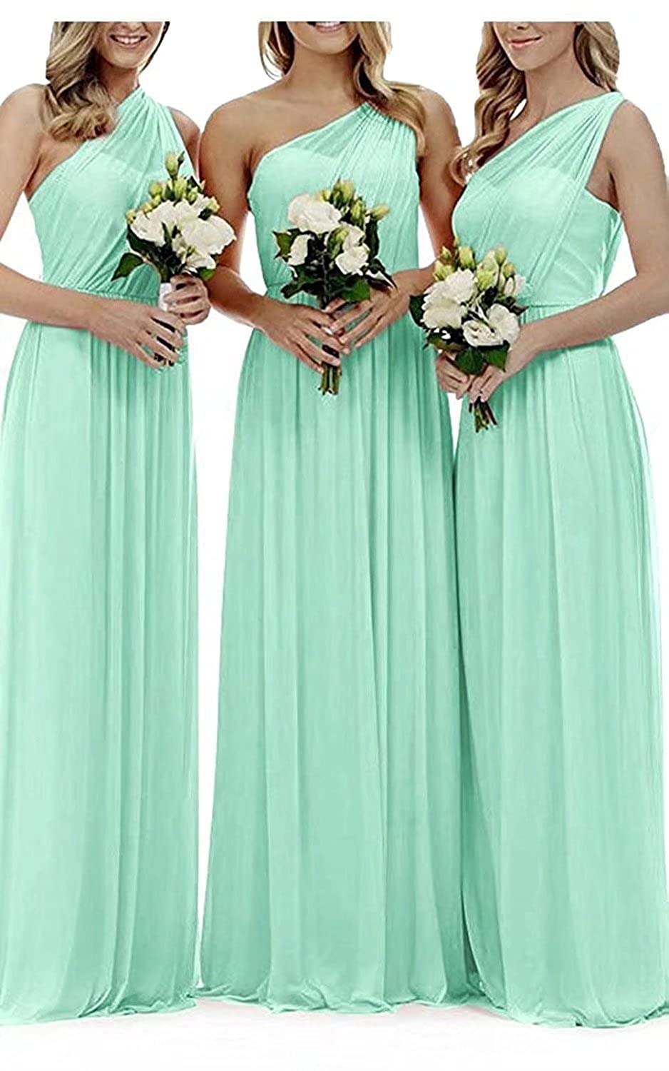 e31c934901fa FNKS CRAFT One Shoulder Bridesmaids Dresses Pleated Chiffon Maid of Honor  Dress Wedding Guest Dress at Amazon Women s Clothing store
