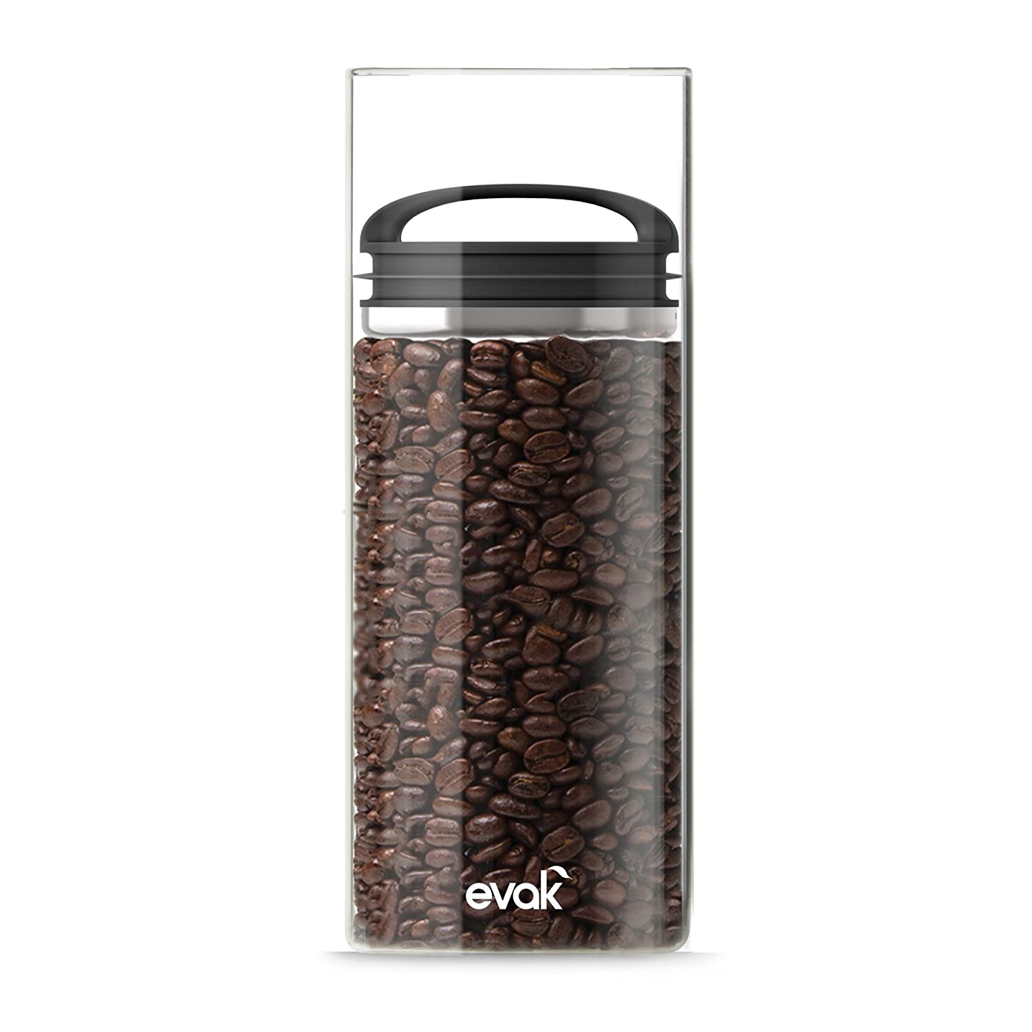 Best PREMIUM Airtight Storage Container for Coffee Beans, Tea and Dry Goods - EVAK - Innovation that Works by Prepara, Glass and Stainless, Compact Soft Touch Black Handle, Large