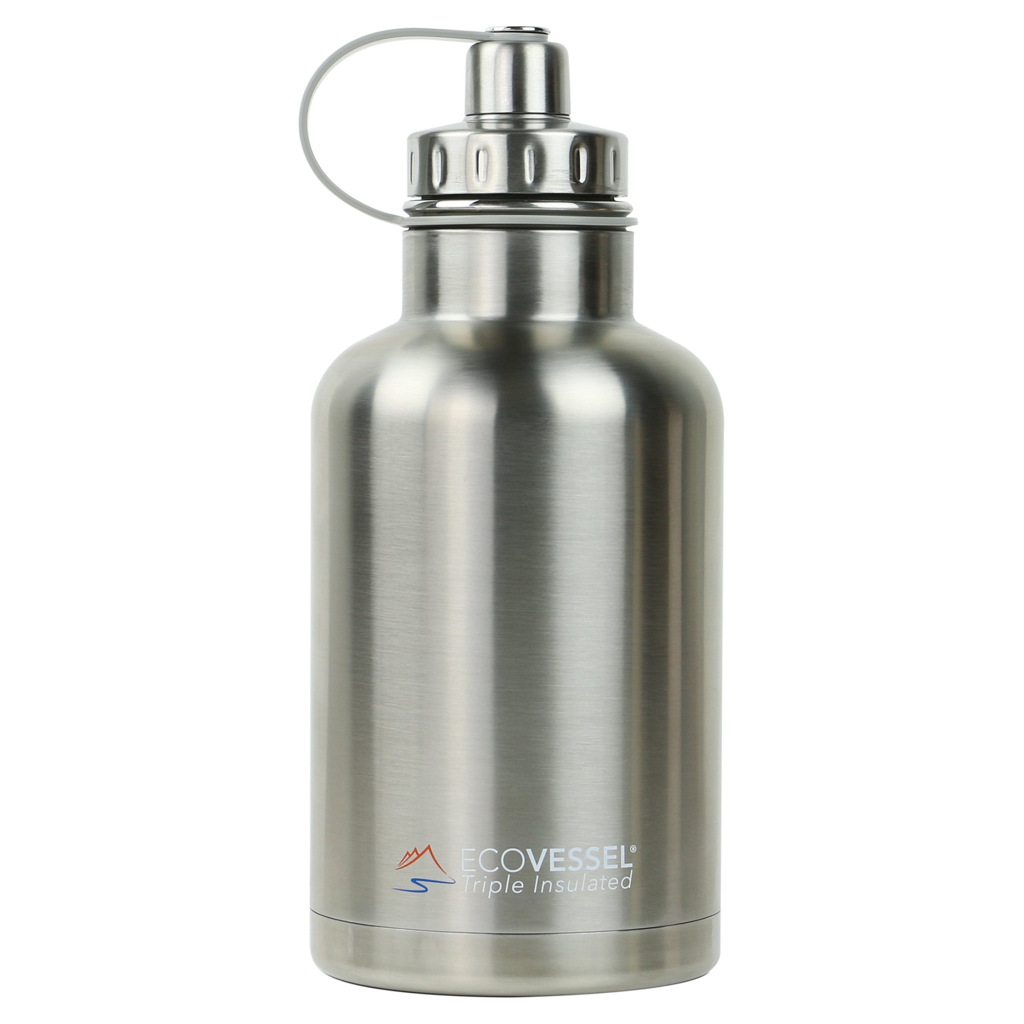 EcoVessel THE BOSS TriMax Insulated Stainless Steel Beer Growler Bottle With Tea And Fruit Infuser - 64 Ounces - Silver Express