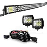 52 Inch Led Light Bar Curved 711W LED Work Light Triple Row Spot Flood Combo Beam Light Bars+2Pcs 4Inch 60W Led Fog…