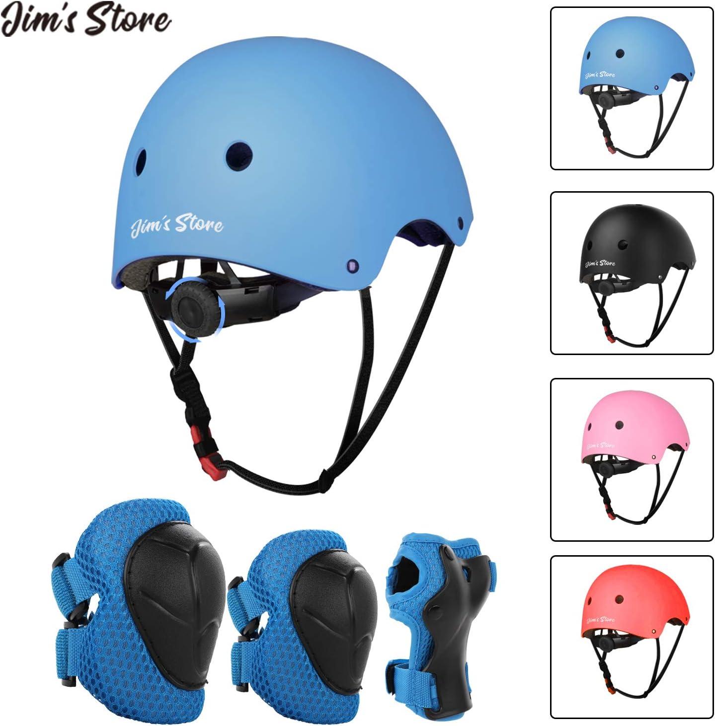 JIM'S STORE Casco y Protecciones Ajustable Infantiles Rodilleras Coderas,Set di Casco 7 Piezas/Set para Scooter Ciclismo Rodillo Patinaje