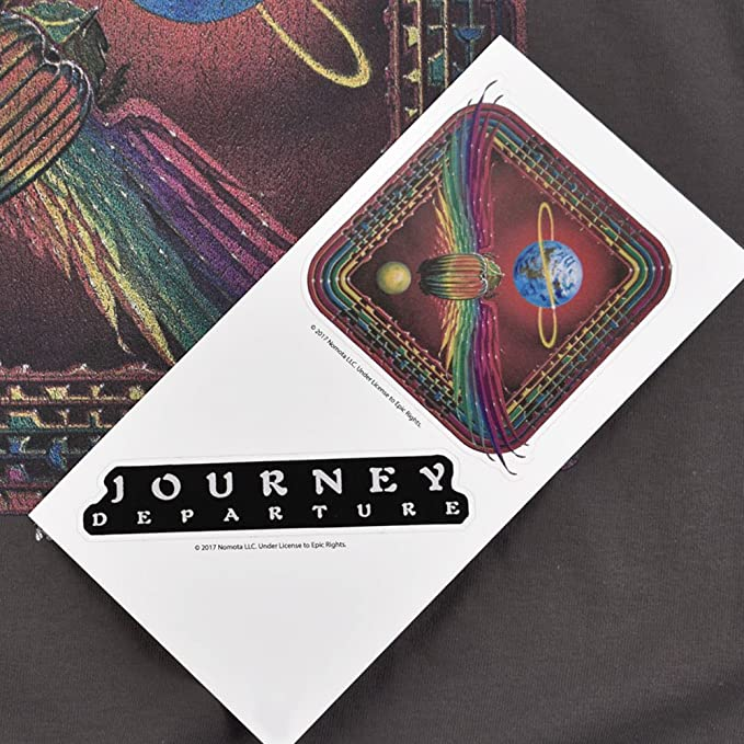 Amazon com popfunk journey t shirt album steve perry band exclusive stickers clothing