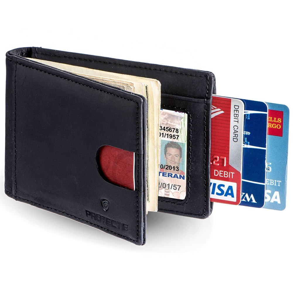 Protectif Money Clip - RFID Blocking Genuine Leather Wallet for Men