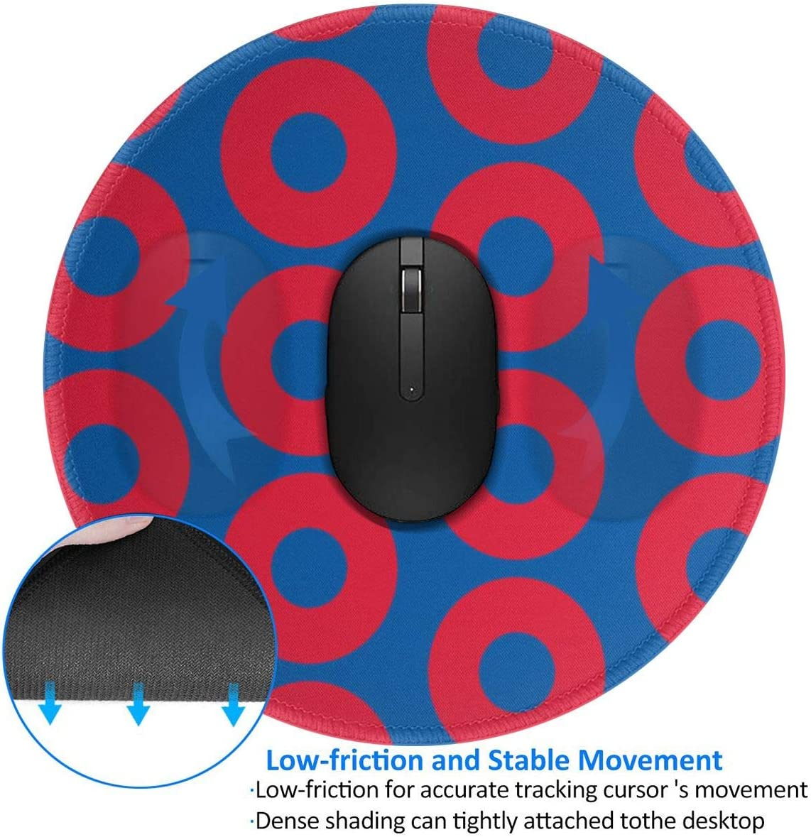 Phish Circles Round Gaming Rubber Base Mouse Pad with Stitches Edges for PC,Computers,Laptops