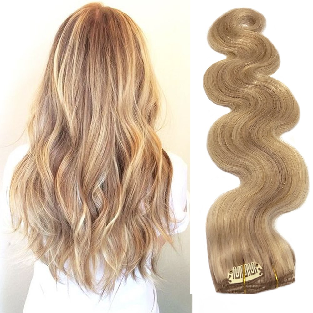 Best Clip In Human Hair Extensions With Blonde Highlights 7 Pieces