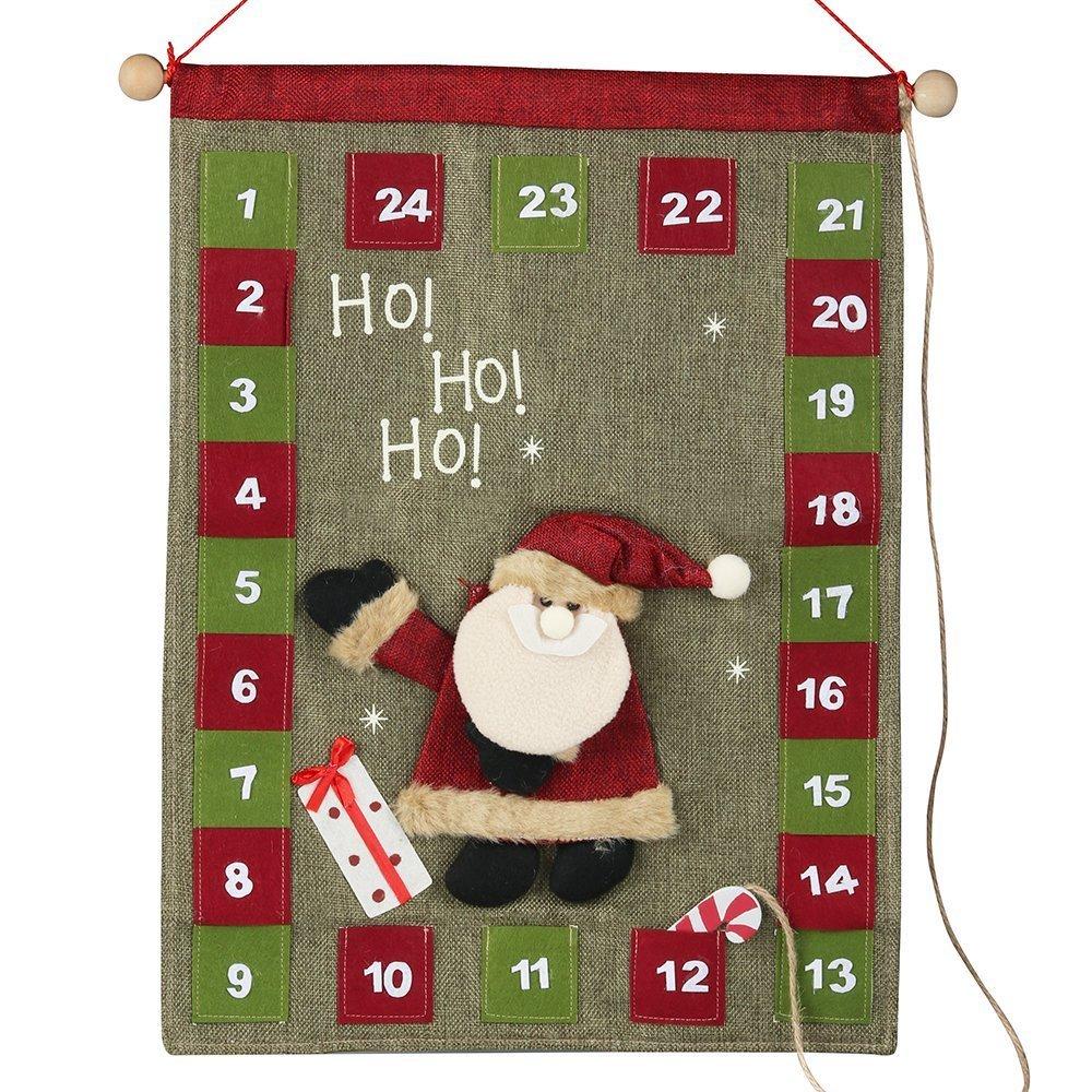 ''HO HO HO'' 3D Xmas Santa Advent Calendar Countdown to Christmas Indoor Decorations 20''x15''