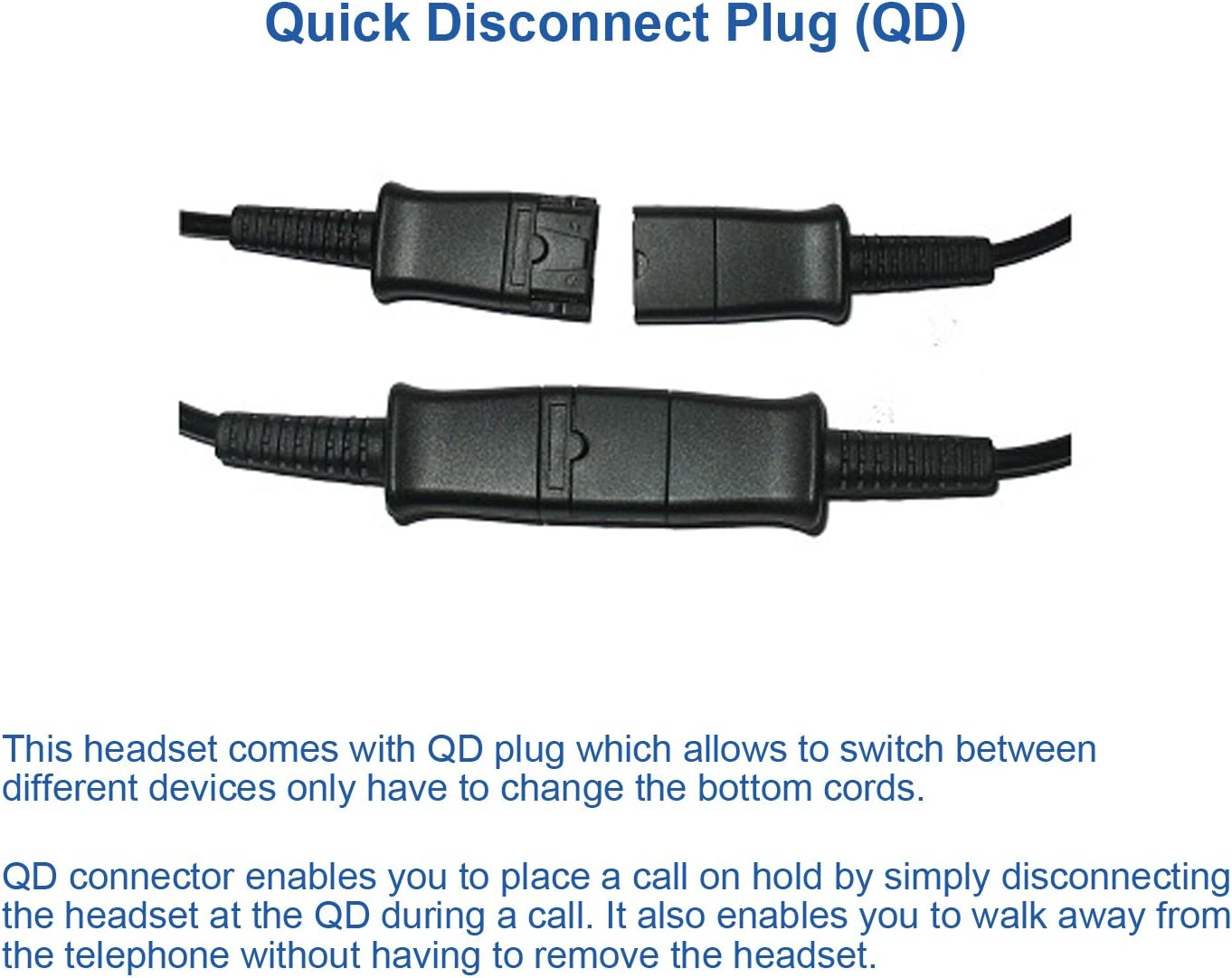 Coil Cord to QD Modular Plug Alternative to Plantronics U10P Compatible with Aastra Polycom Fanvil AudioCodes Atcom Digium etc Headset Adapter Cable for Plantronics or MKJ Headsets