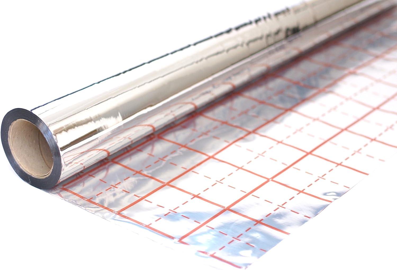 Rasterfolie f/ür Fu/ßbodenheizung Isolierfolie Iso Folie Alufolie der Dicke 105 /µm 50 m2