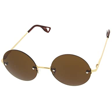 3294b7b3849 zeroUV - Retro Fashion Frameless Metal Arm Round Circle Sunglasses (Gold -Amber)