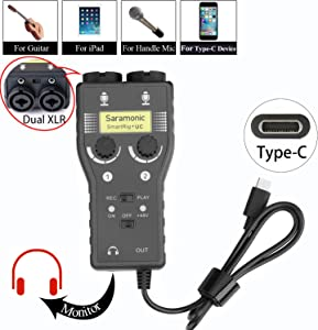Microphone Preamp for USB-C Smartphone, Saramonic 2-Track XLR & 3.5mm Mic Mixer + Guitar Interface for Type-C Devices Samsung Galaxy Note 9 8 S8 Xiaomi Huawei LG Android Smartphone Pad (2-Channel)