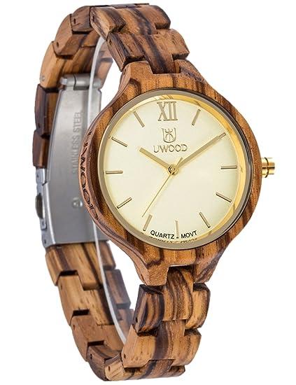 Reloj Mujer De Madera Elegante Y Ligera Mujer Reloj Bonito Reloj De Pulsera Madera: Amazon.es: Relojes