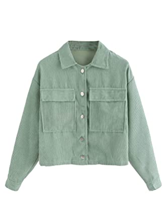 2e95f29fd Amazon.com  Milumia Women s Dual Pocket Corduroy Solid Jacket Single ...