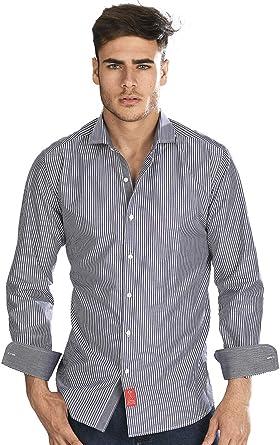 Camisa Manga Larga Negra de Vestir, semientallada con Rayas en Color Blanco para Hombre: Amazon.es: Ropa y accesorios