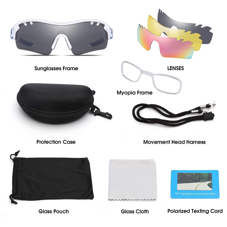 Jim Halo Polarizadas Deporte Gafas de Sol Para Hombre Mujer UV400 Protección Ciclismo Correr Pescar Anteojos 3 Lentes Intercambiable Blanco Azul: Amazon.es: ...
