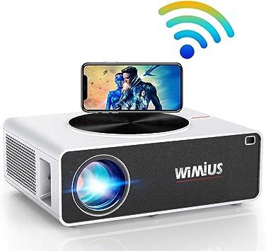 Proyector WiFi 1080P, 7500 Lúmenes WiMiUS Proyector WiFi Full HD 1920×1080P Soporta 4K Proyector WiFi Cine En Casa Proyector LED 100,000 Horas para Teléfonos,iPad,Fire TV Stick,PS4,PC HDMI USB VGA AV