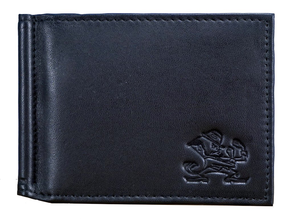 Notre Dame Fighting Irish NCAA RFID Blocking Shield Black Leather Moneyclip Wallet