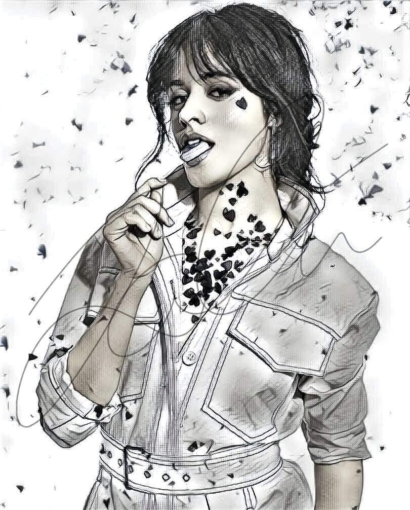 Amazon Com Camila Cabello Sketch Drawing Print Poster Hand Drawn