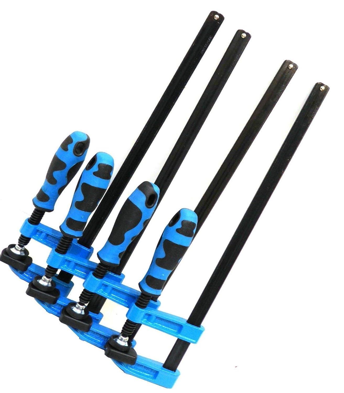 Blue F Clamps Bar Clamp Heavy Duty 600 x 80mm 24' Long Quick Slide Wood Clamp 4pc Set Tough Blue Handle Mekanik