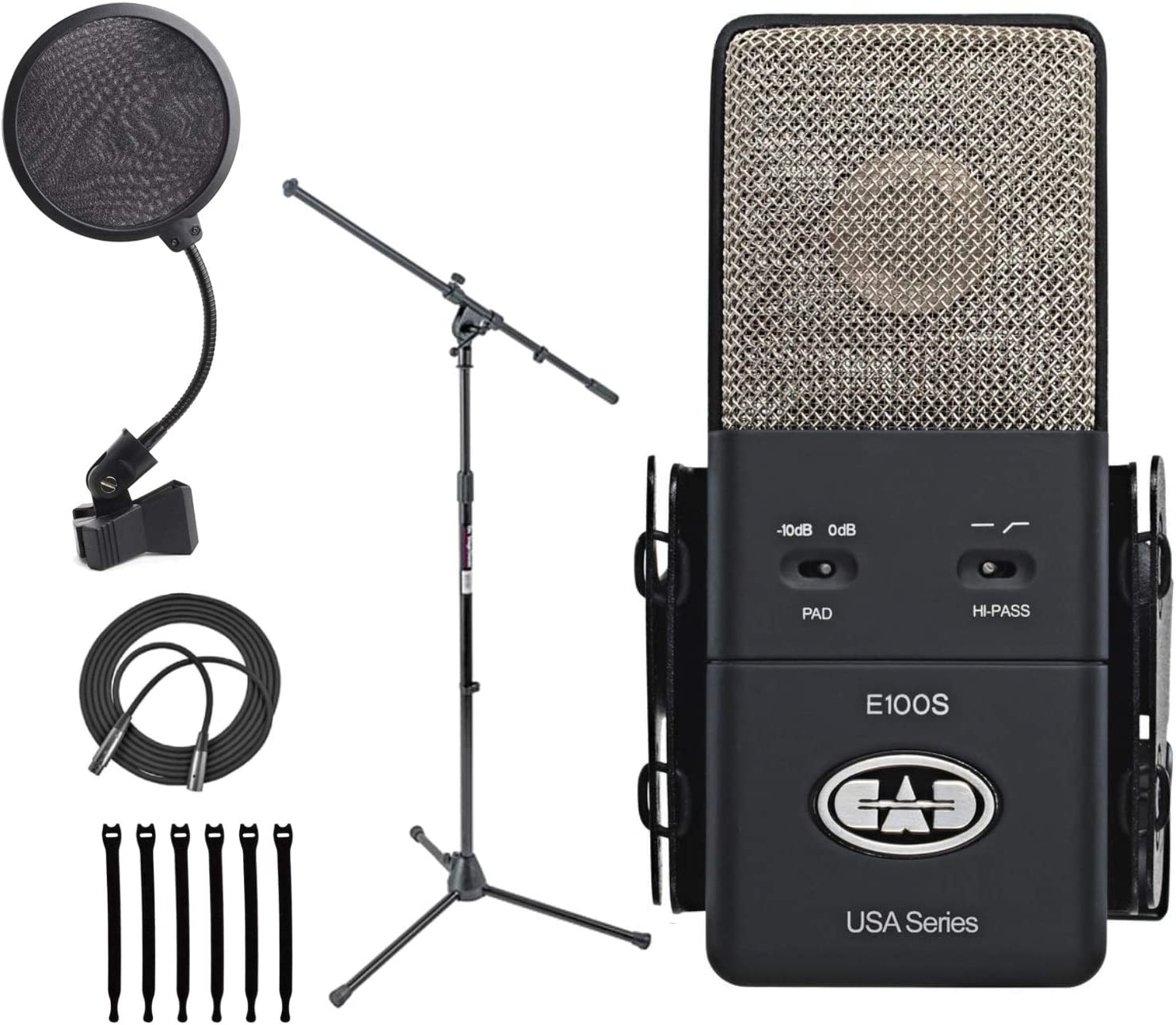 CAD Audio Equitek E100S Supercardioid Condenser Microphone + On Stage MS7701B Euro Boom Microphone Stand + On Stage ASVS4B 4-Inch Pop Filter + Op/Tech Strapeez, Black + Mic XLR Cable