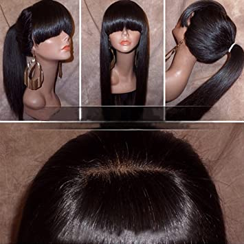 Amazon.com : Silky Straight Lace Front Wig with Full Bangs ...