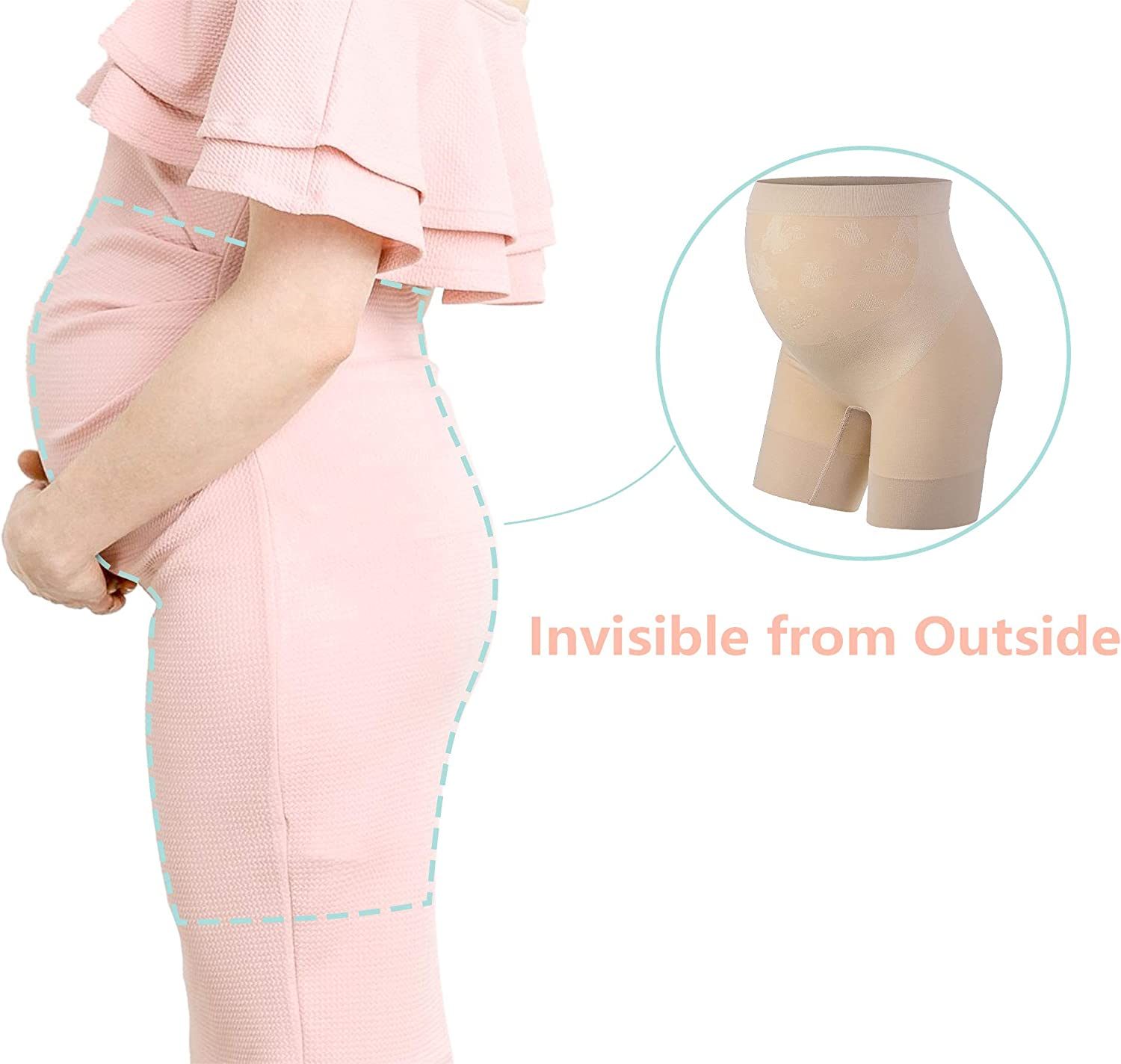 Baby Bump Premium Maternity Shapewear High Waisted Mid Thigh Pregnancy Underwear Prevent Chaffing Soft Adominal Support At Amazon Women S Clothing Store