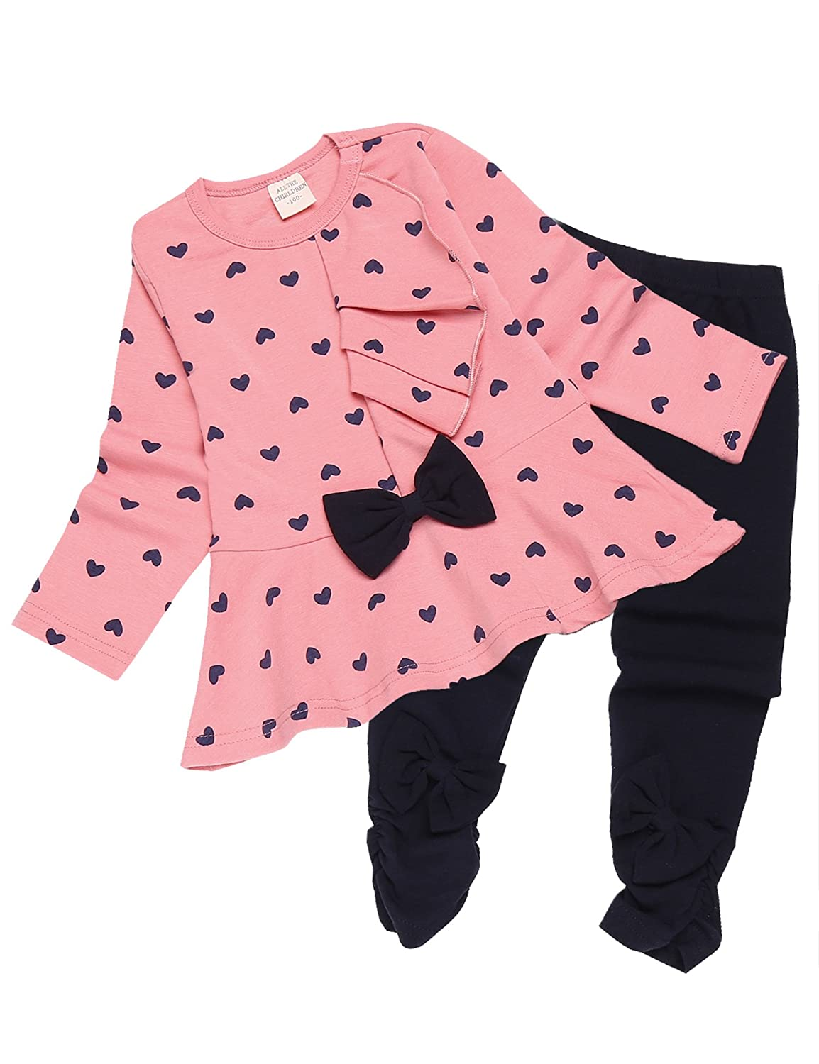 Zeagoo Cute Toddler Baby Girl Clothes Set Bowknot Long Sleeve Tops and Pants Kids 2pcs Outfits ZE011174