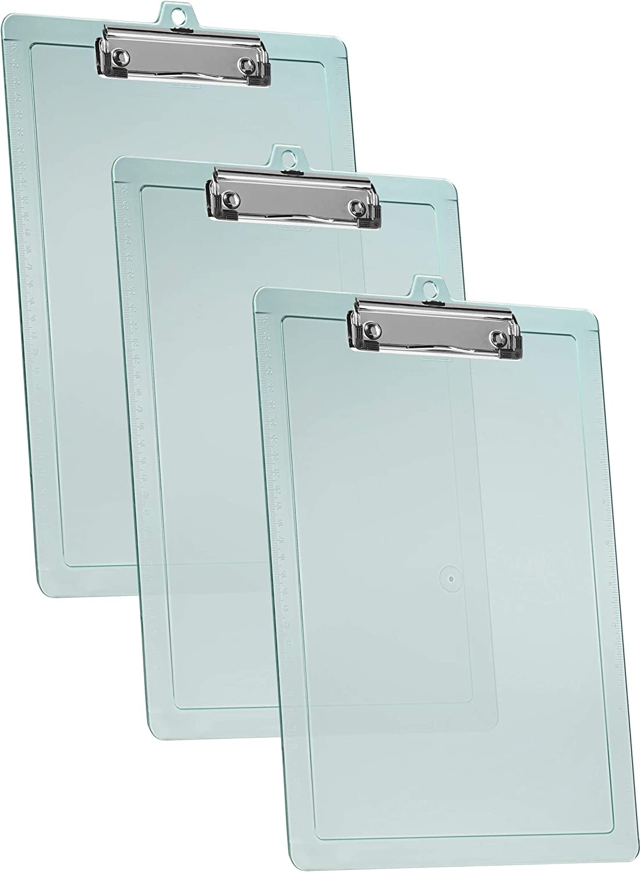 "13/"" x 9 1//16/"" Acrimet Clipboard Letter Size A4 3 Pack Low Profile Clip Hardboard"