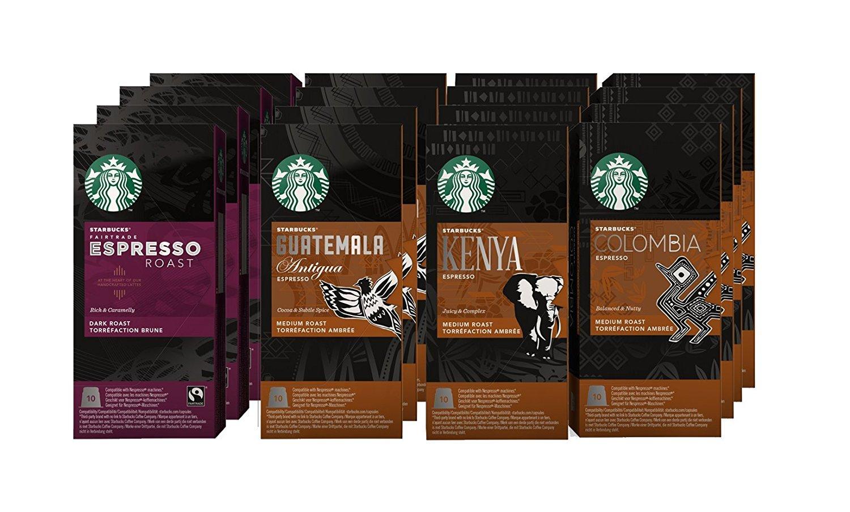 Nespresso Starbucks Colombia, Espresso, Guatemala, Kenya (120 count) Variety Assortment
