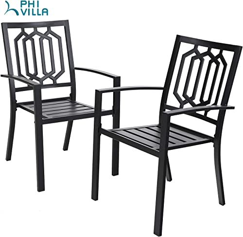 PHI Villa Black Metal Patio Outdoor Dining Chairs Set of 2 Stackable Bistro Deck Chairs Set for Garden Backyard Lawn Support 300LB