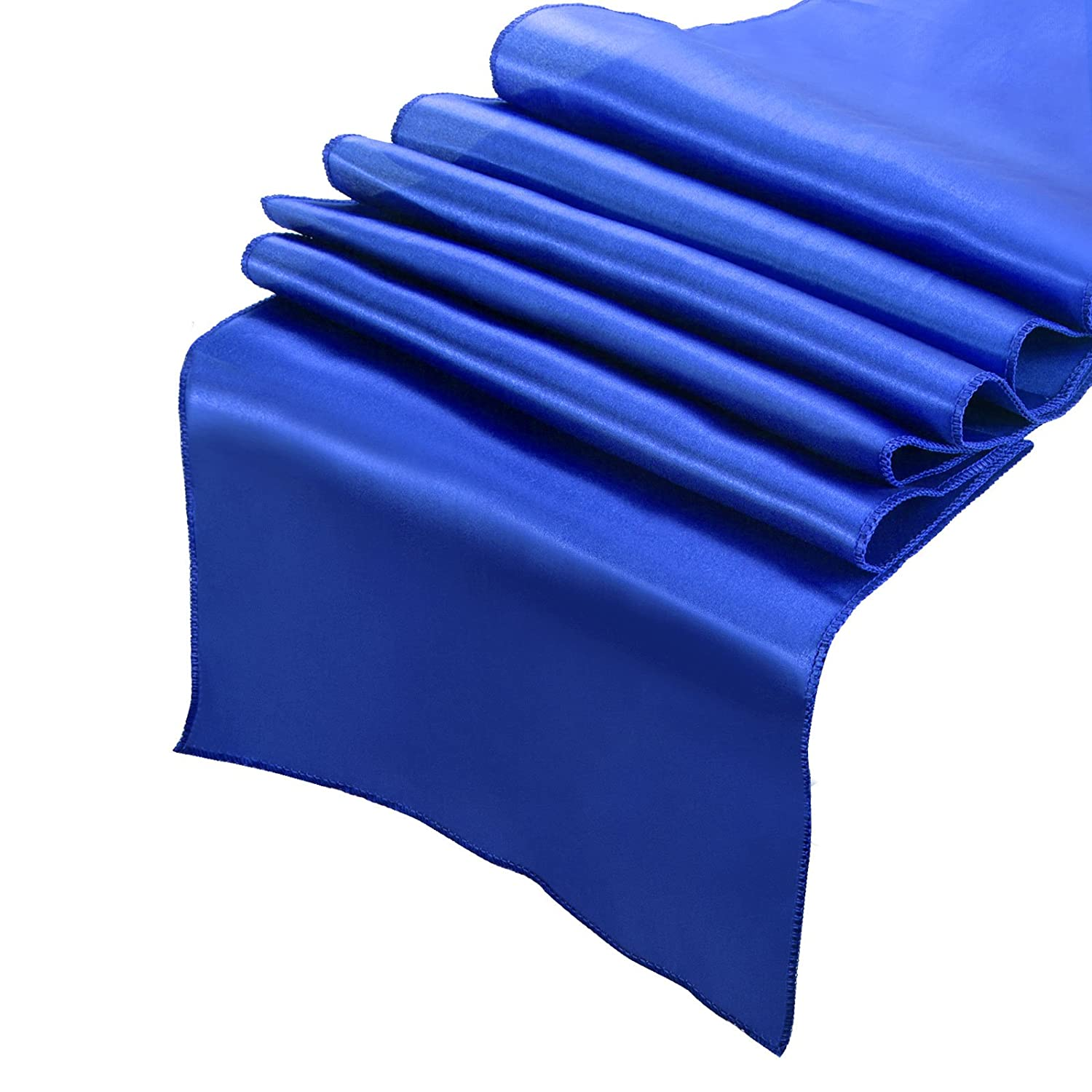 Bormart Pack of 10 Satin Table Runner 12 x 108 inch Smooth and Bright silk for Wedding Banquets Party Christmas Holiday Decoration 10,Orange