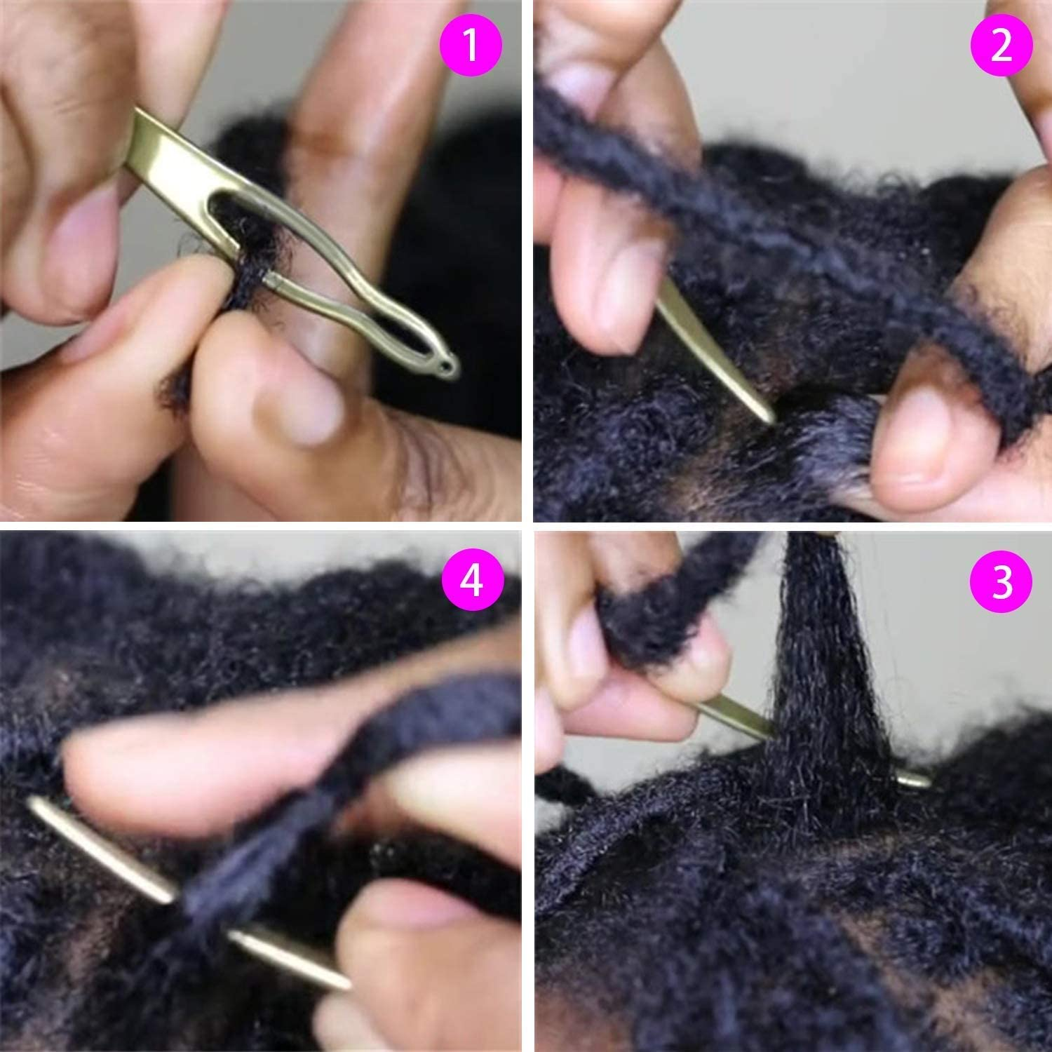 Easyloc Hair Tool for Dreadlocks 2 Pieces Beautywin Dreadlock Tool Interlocking Tool for Locs Tightening Accessory for Small Starting and Maintaining Your Locs Gold and Silver Interlocks or Sisterlocks