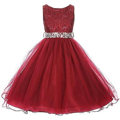 84c4ee0e Little Girls Sleeveless Dress Glitters Sequined Bodice Double Layer Tulle  Skirt Rhinestones Sash Flower Girl Dress