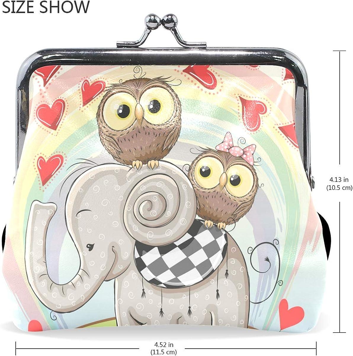 Fashion Womens Coin Purse Cute Cartoon Elephant Vintage Pouch Kiss-lock Mini Purse Wallets