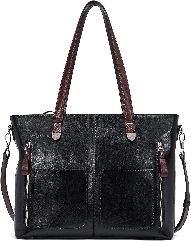 BOSTANTEN Leather Laptop Handbag 15.6 inch Shoulder Briefcase for Women Tote Satchel bag
