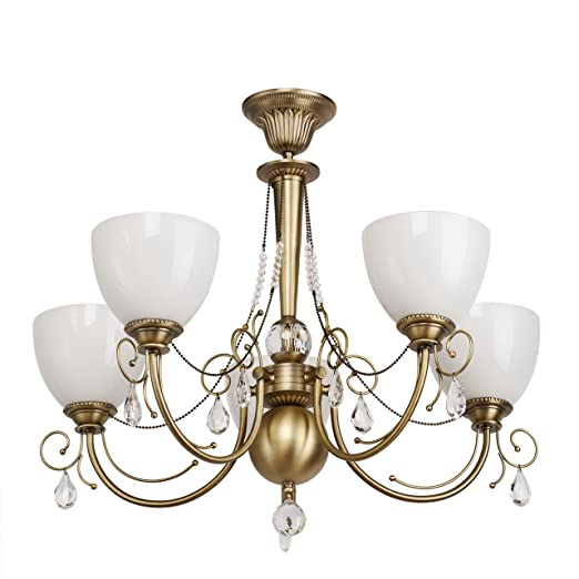 Classic glass 72 cm brass coloured chandelier ceiling lamp 2 bells classic glass 72 cm brass coloured chandelier ceiling lamp 2 bells metal crystal light 5 aloadofball Image collections