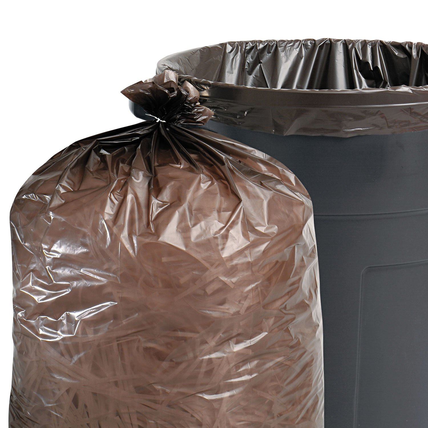 Stout by Envision T4349B15 100% Recycled Plastic Garbage Bags, 56gal, 1.5mil, 43 x 49, Brown/Black (Case of 100)