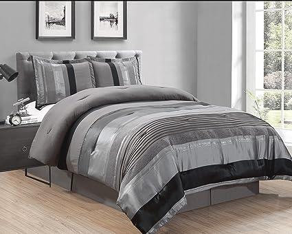 California King Chenille Bedspreads.4 Piece Grey Black Silver Stripe Oversize Chenille Comforter Set 106 X 94 California King Size Bedding