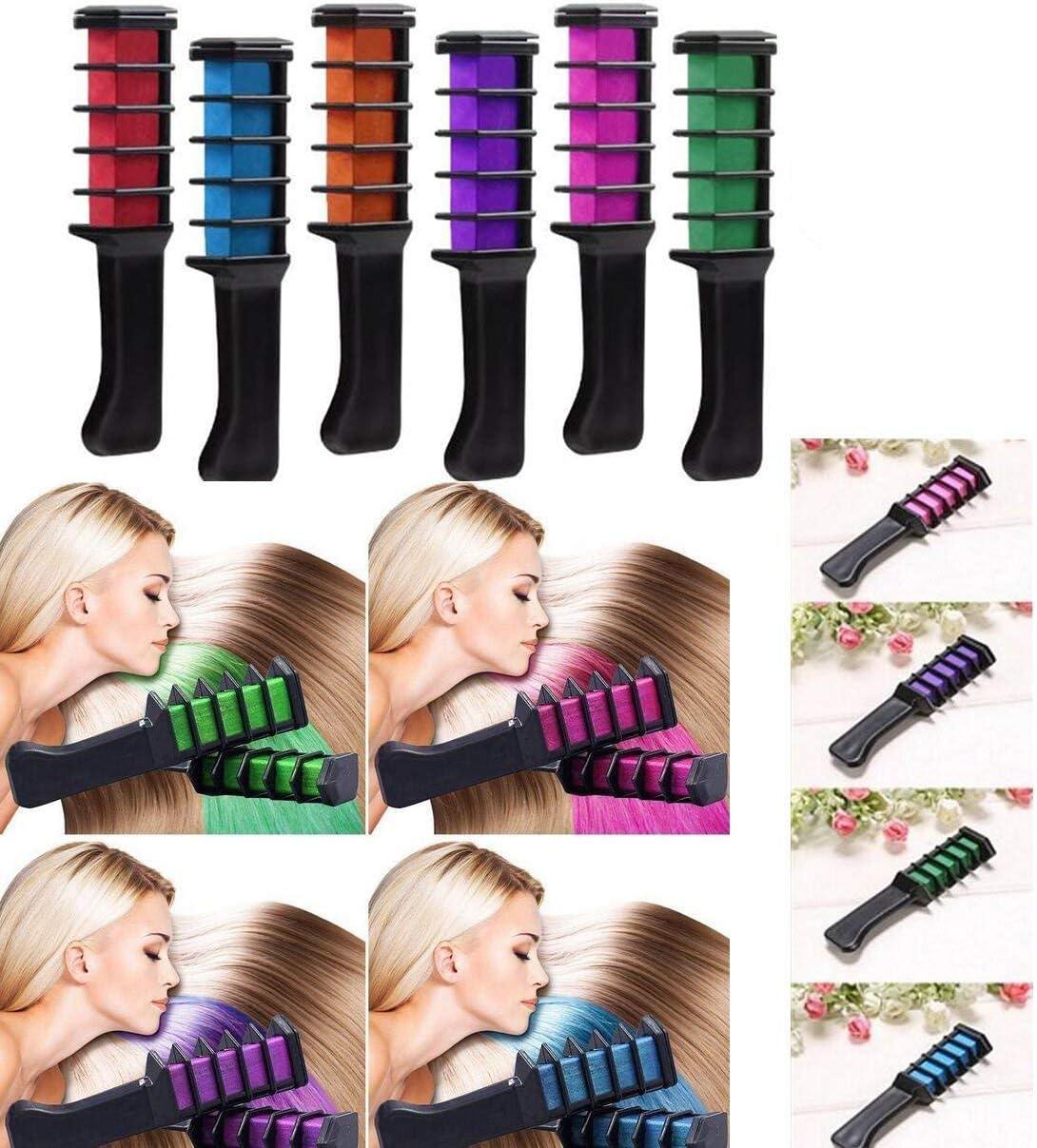 Vianber Peine temporal del colorante del pelo, colores lavables del pelo del teñido seguro de 6 colores fija para las muchachas para el vestido y el ...