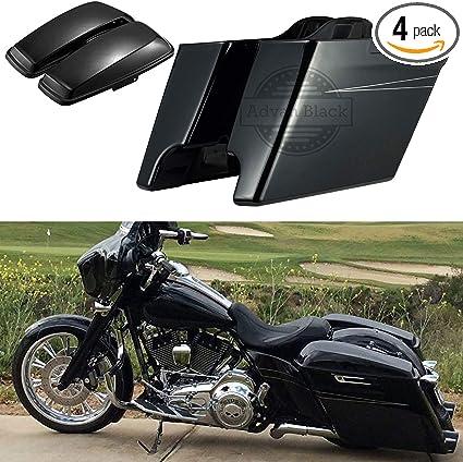 Uncut Vivid Black Saddlebag Extensions fit Harley Touring FLHR FLHT FLTR