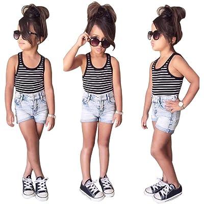 6e7637b35c4 Sunbona Little Baby Girl Princess Summer Fashion Striped T-Shirt Tops Jeans  Shorts Pants Clothes Set Outfits