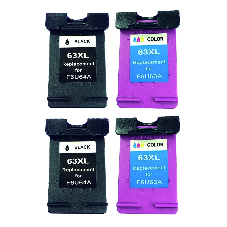Bavvo ®リサイクルインクカートリッジHP 63 X Lで使用HP Deskjet 3634 (ブラック/3色) B01ING6XBM  2 Black, 2 TriColor