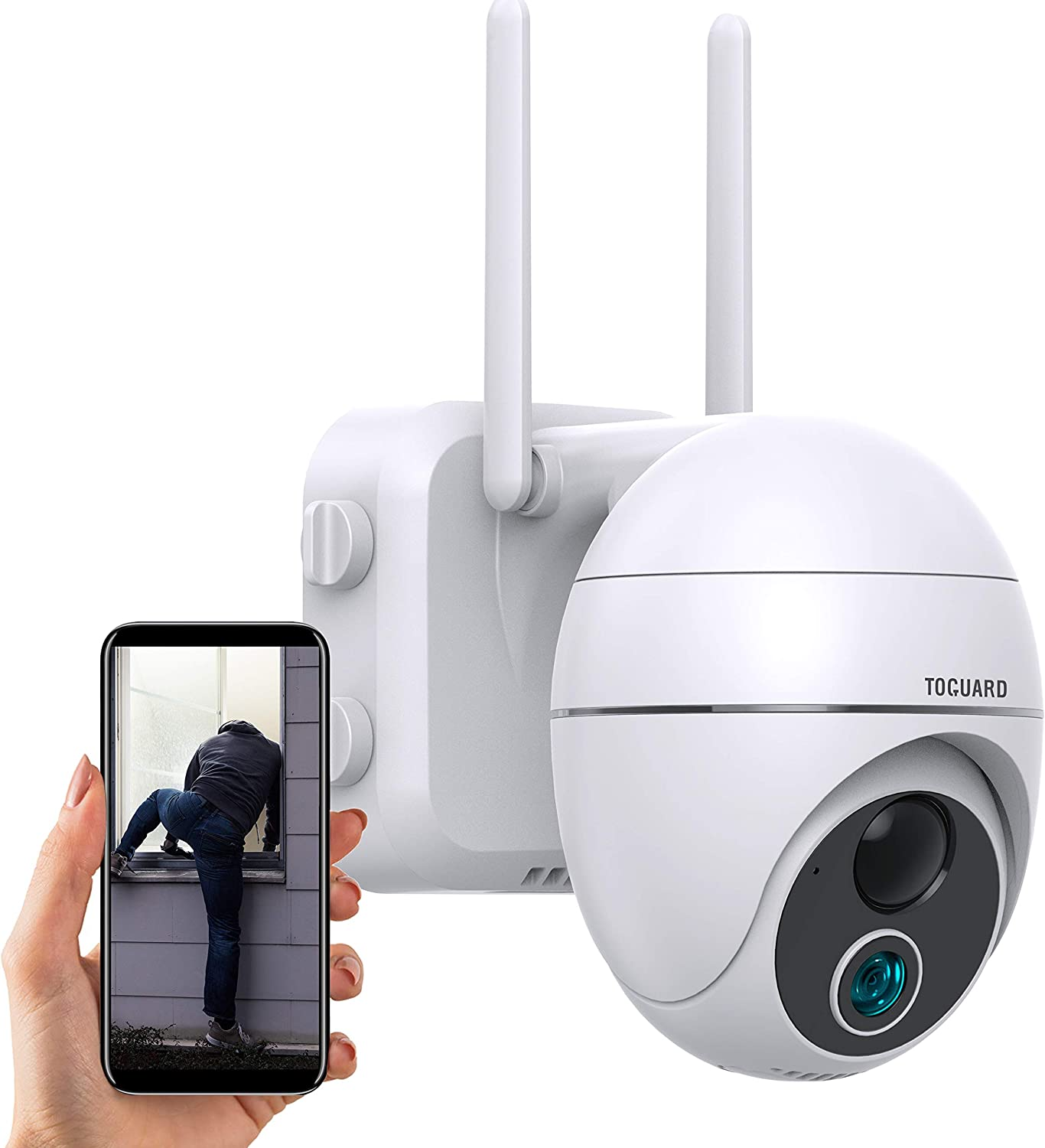 TOGUARD Wireless Security Camera Outdoor WiFi, Battery Powered PTZ Home Security Camera With Two-Way Audio, 15000mAh Battery WiFi Surveillance Home Cameras For Motion Detection