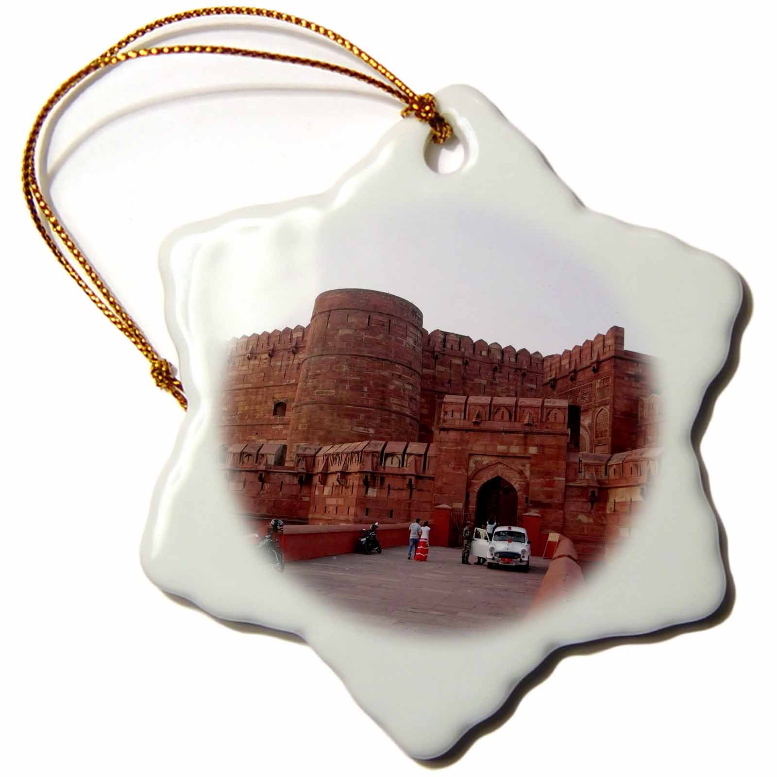 3dRose Cities Of The World - Lahore Gate In Delhi, India - 3 inch Snowflake Porcelain Ornament (orn_268656_1)