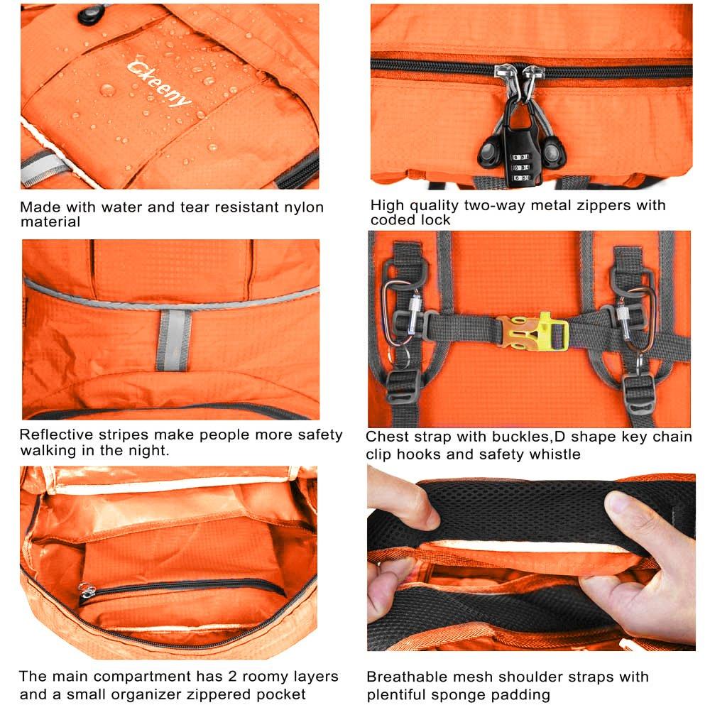 Mochila Gkeeny liviana de 35 l ultraliviana para viaje, senderismo, camping al aire libre, hombre, Lightweight Foldable Rucksack, naranja, large: Amazon.es: ...