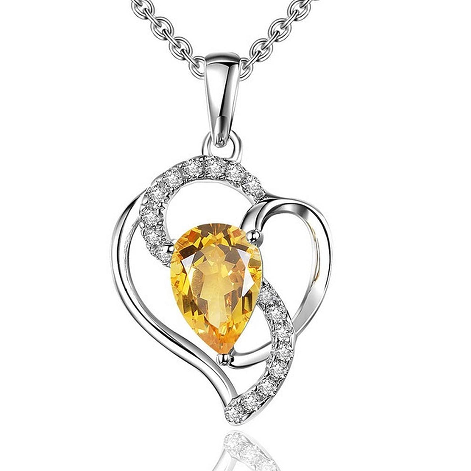 CS-DB Silver 0.61ct Natural Citrine Classic GemstonePendants Necklaces For Womens