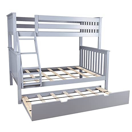 max u0026 lily solid wood twin over full bunk bed with trundle bed