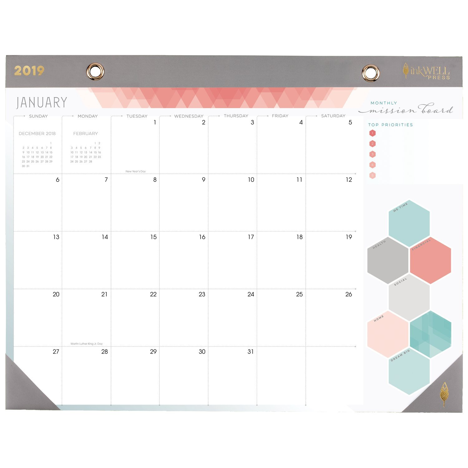 a3987b6e4aa Amazon.com  inkWELL Press 2019 Monthly Desk Pad Calendar